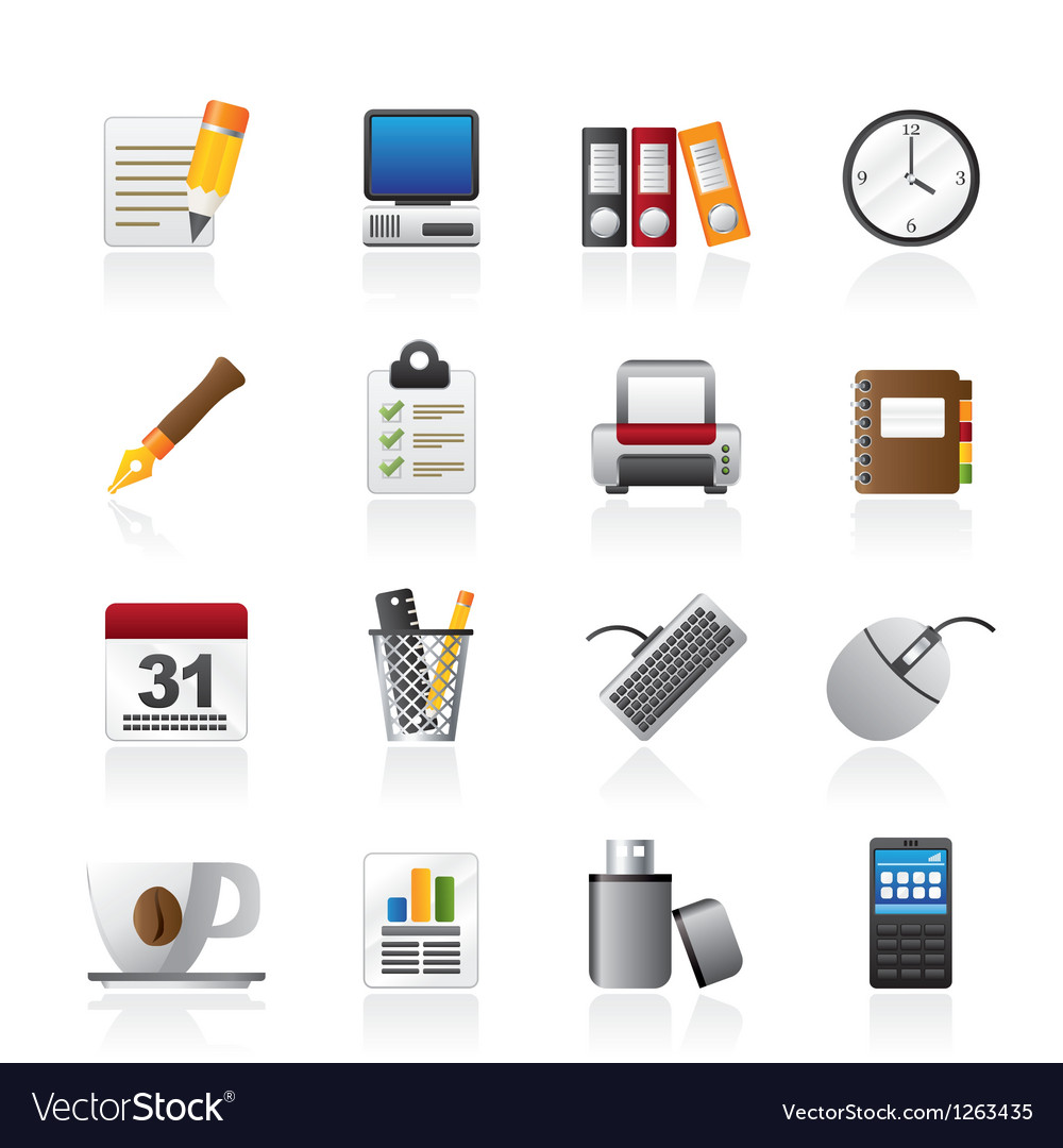 Business and office equipment icons vector | Price: 3 Credit (USD $3)