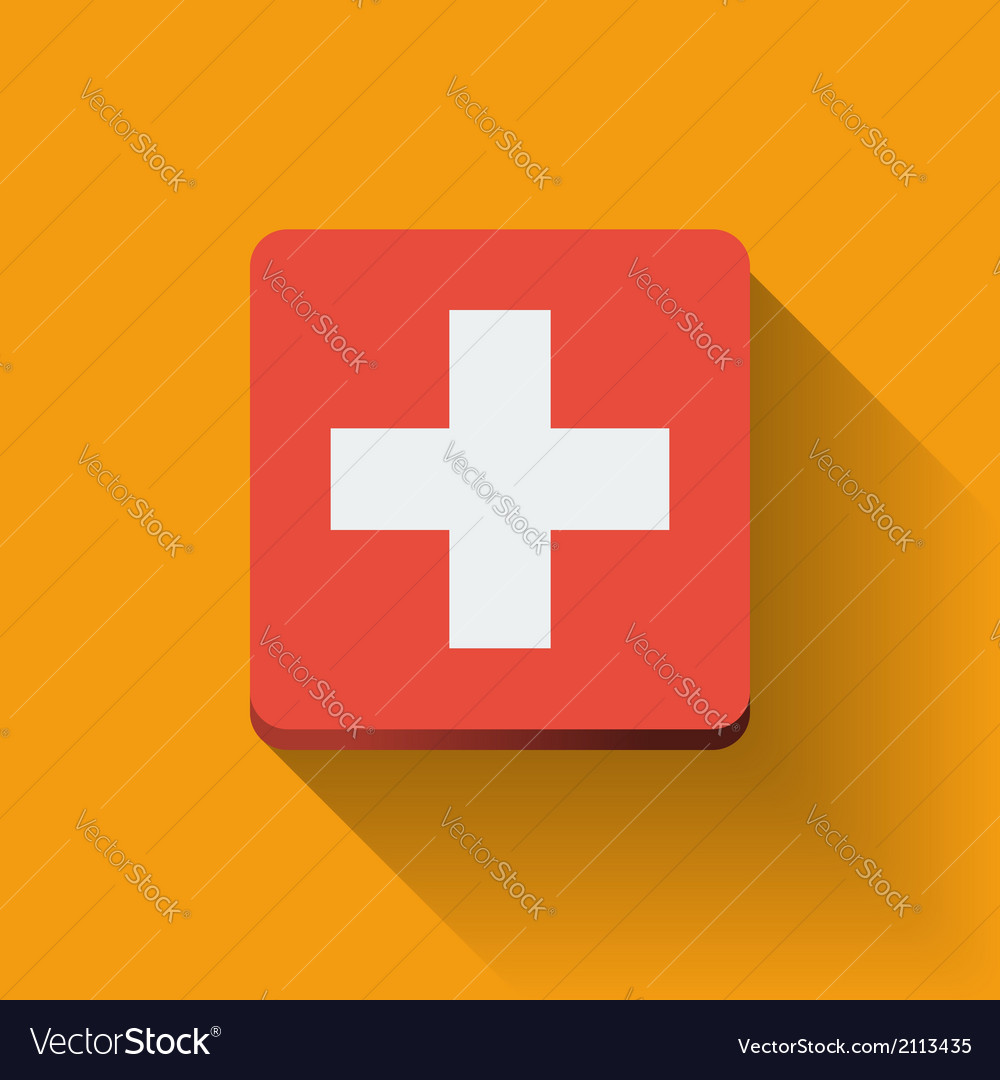 Button with flag of switzerland vector | Price: 1 Credit (USD $1)