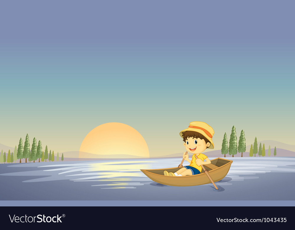 Canoe boy background vector | Price: 1 Credit (USD $1)