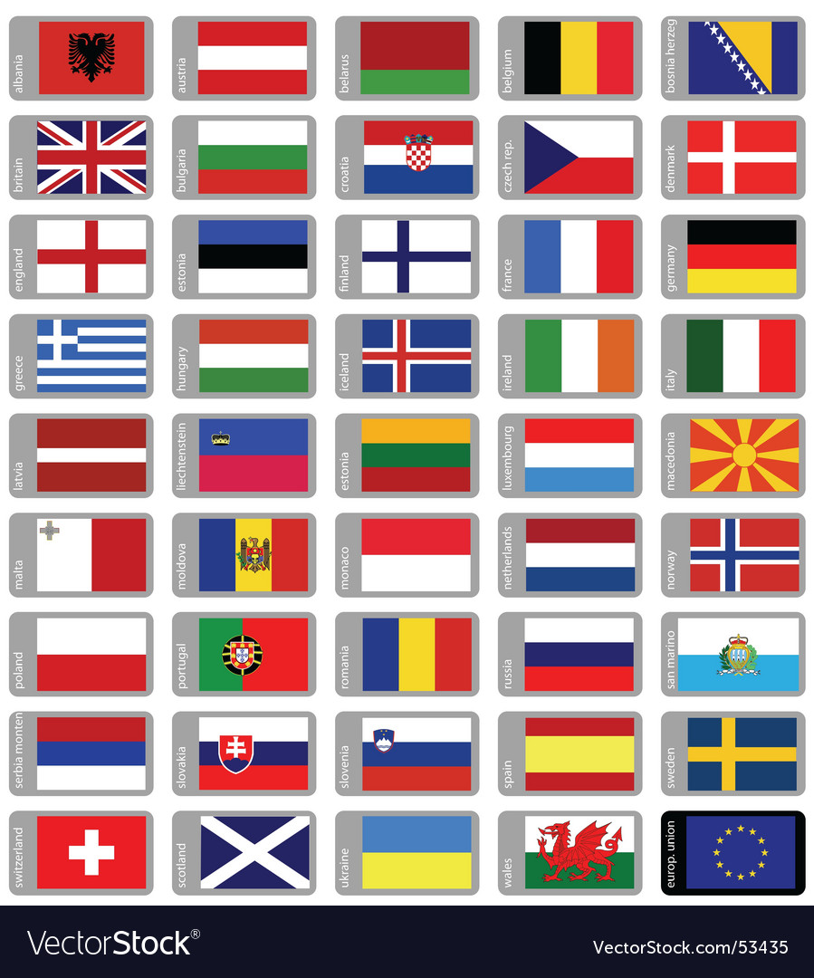 Flags europe vector | Price:  Credit (USD $)