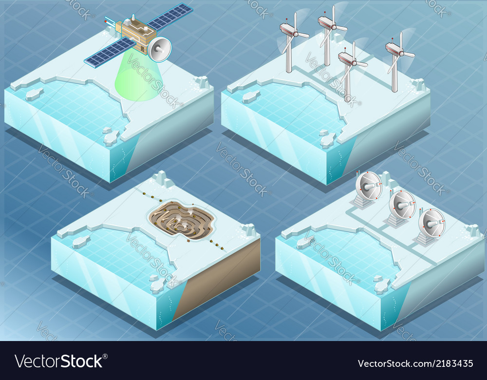 Isometric arctic satellite windmill mine radar vector | Price: 1 Credit (USD $1)