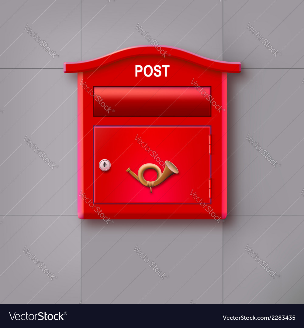 Red mailbox hanging on the wall logo postal horn vector | Price: 1 Credit (USD $1)