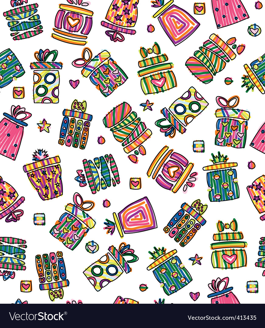 Seamless pattern of gift boxes vector   Price: 1 Credit (USD $1)