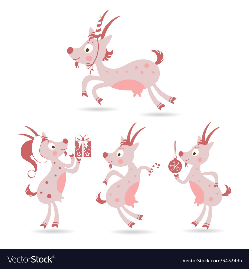 Set of cute christmas goats vector | Price: 1 Credit (USD $1)