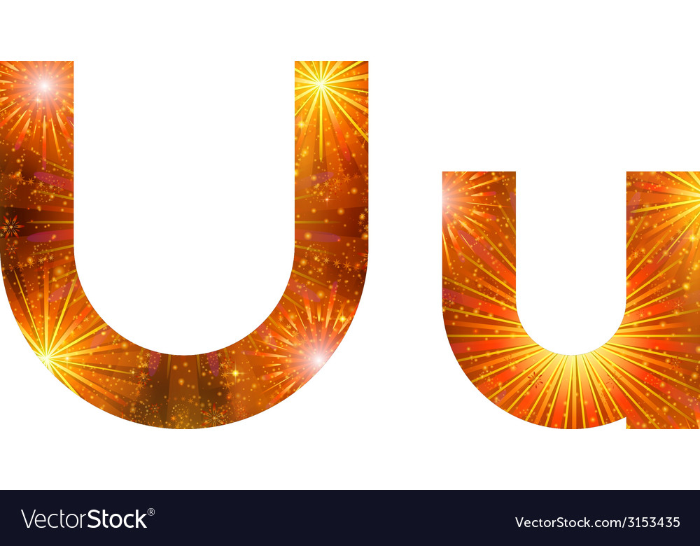 Set of letters firework u vector | Price: 1 Credit (USD $1)