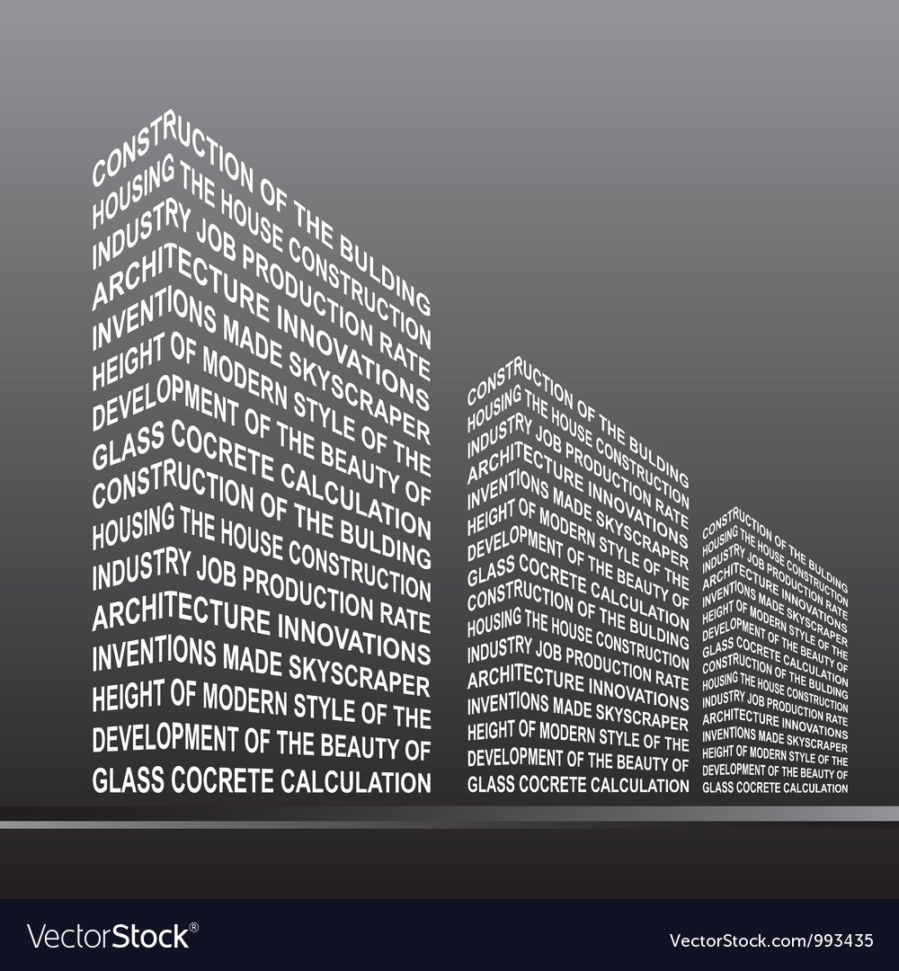 The stylised building built out of words vector | Price: 1 Credit (USD $1)