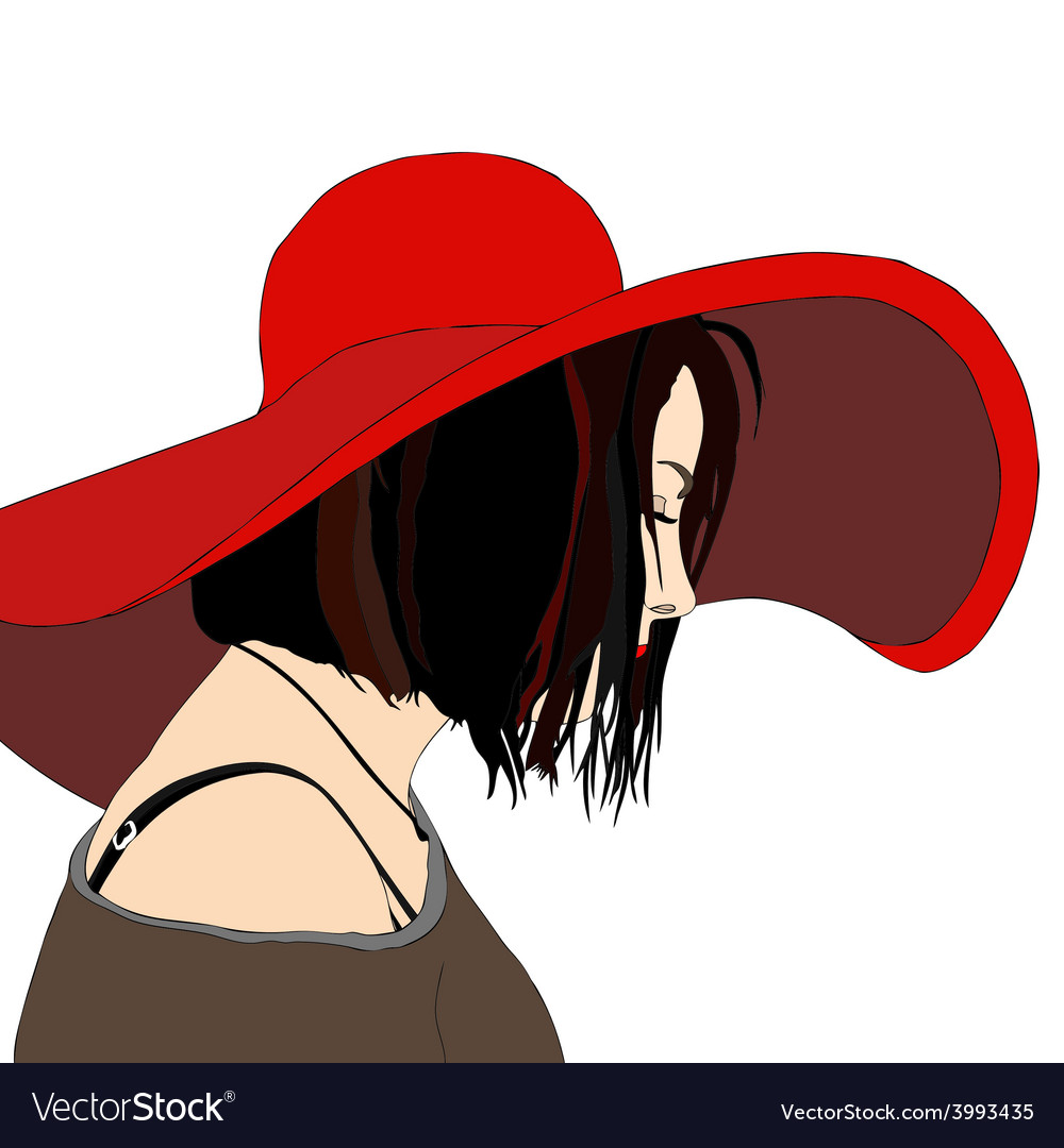 Young woman with hat vector | Price: 1 Credit (USD $1)
