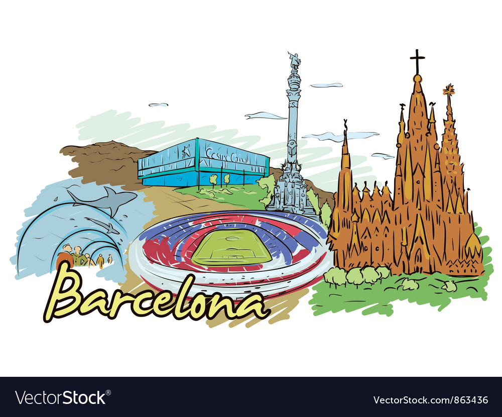 Barcelona doodles vector | Price: 3 Credit (USD $3)