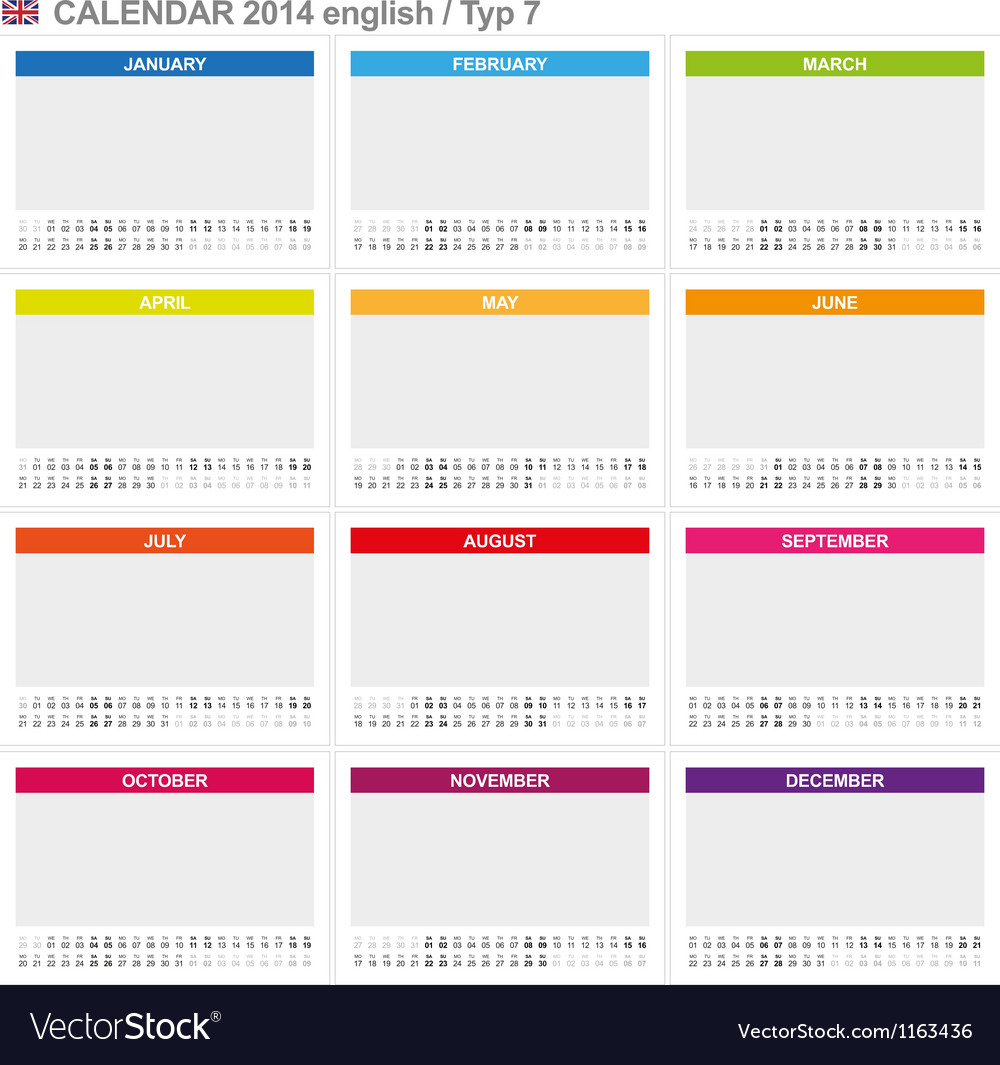 Calendar 2014 english type 7 vector | Price: 1 Credit (USD $1)