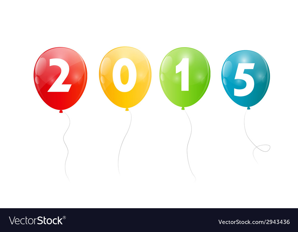 Color glossy balloons 2015 new year background vector | Price: 1 Credit (USD $1)
