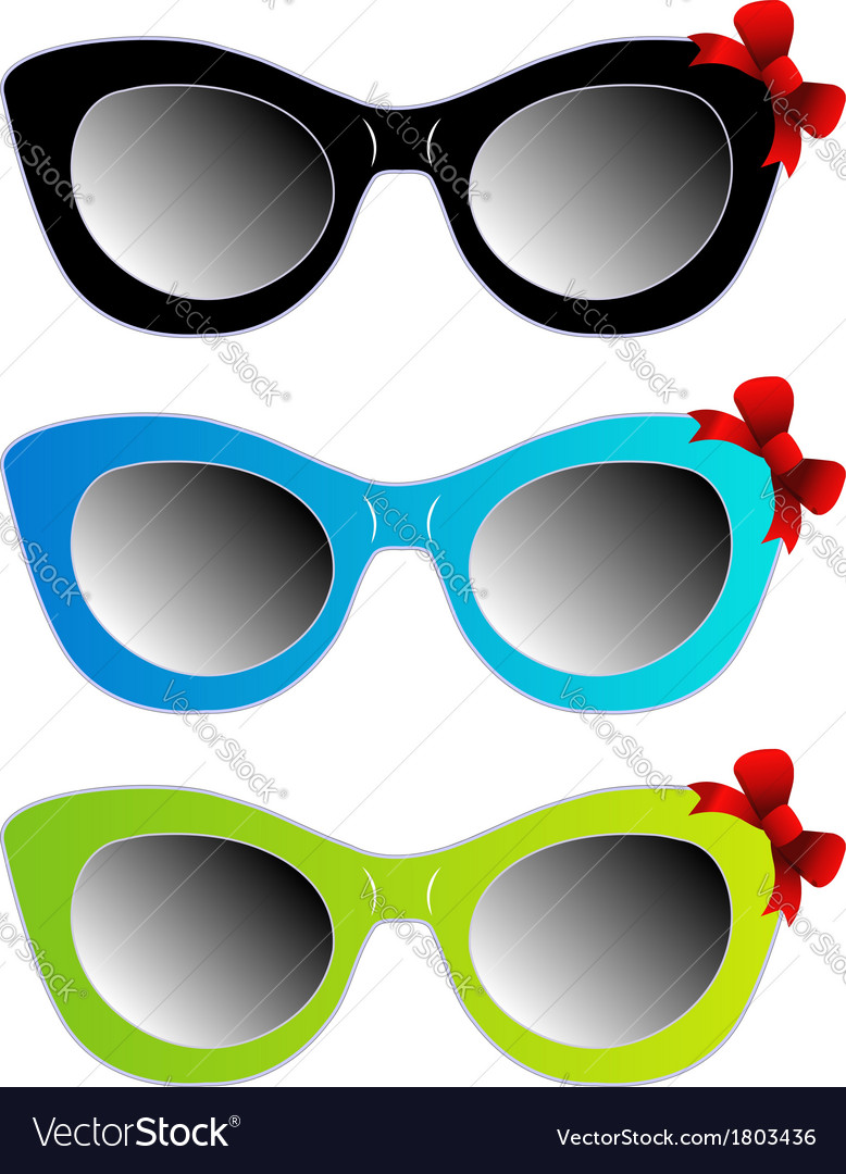 Colorful cat eye sunglasses with red bow vector | Price: 1 Credit (USD $1)