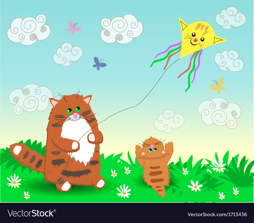 Dad and baby cats launch a kite vector | Price: 1 Credit (USD $1)