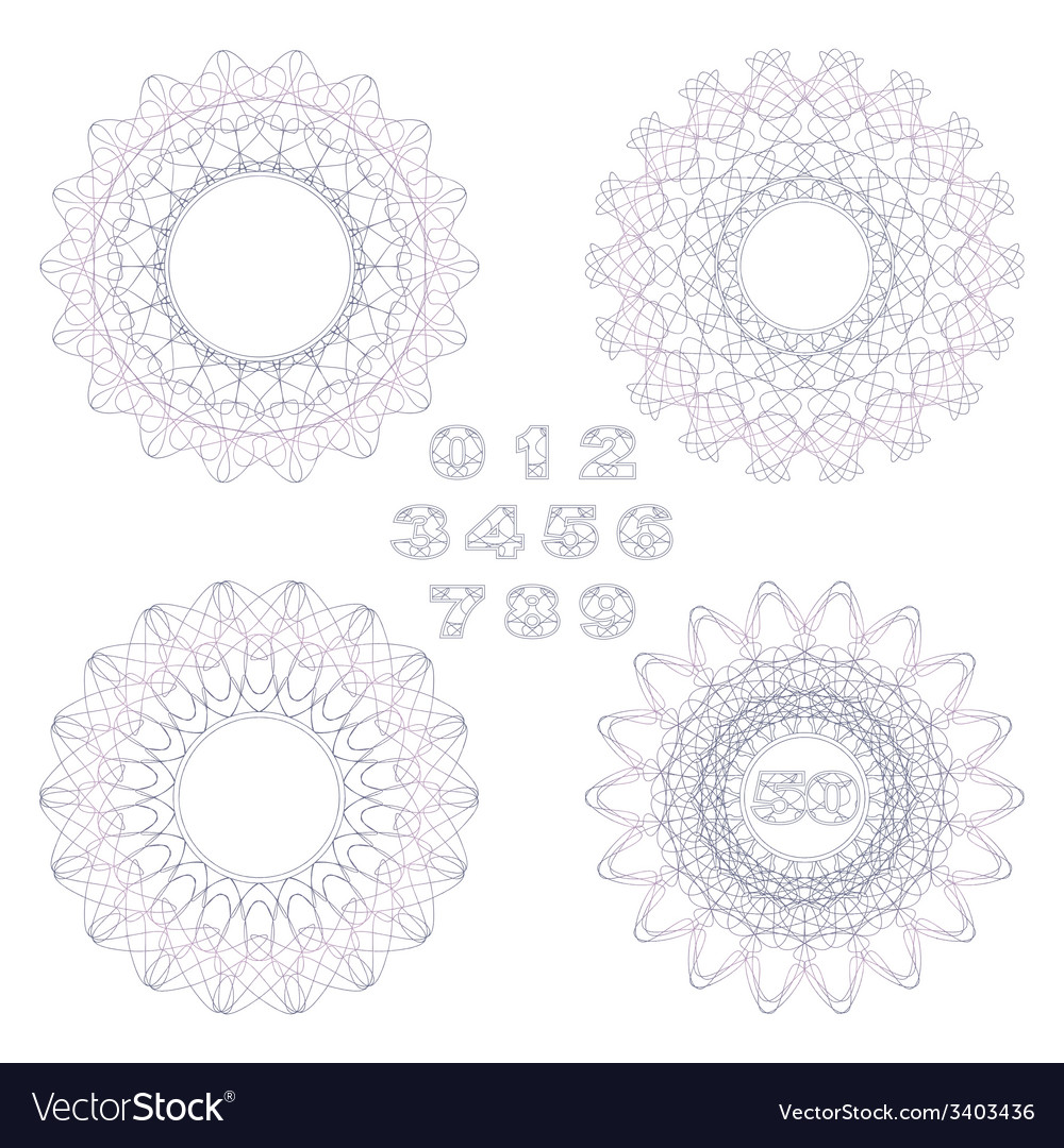 Decorative rosettes and numbers vector | Price: 1 Credit (USD $1)