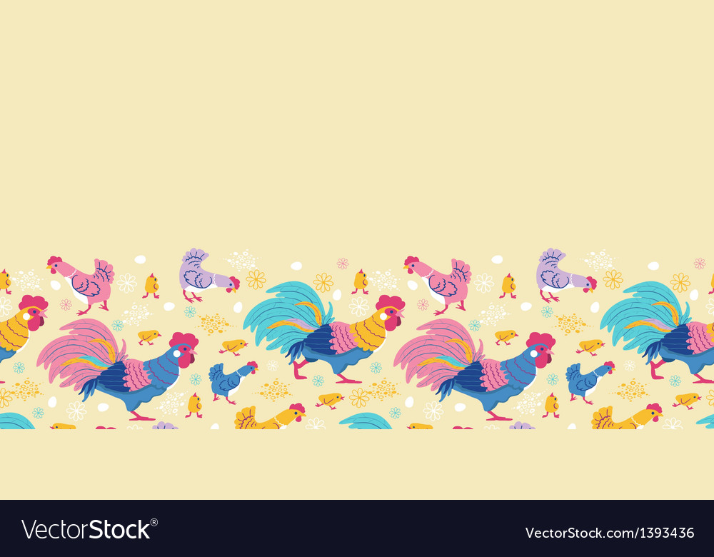 Fun chickens horizontal seamless pattern vector | Price: 1 Credit (USD $1)