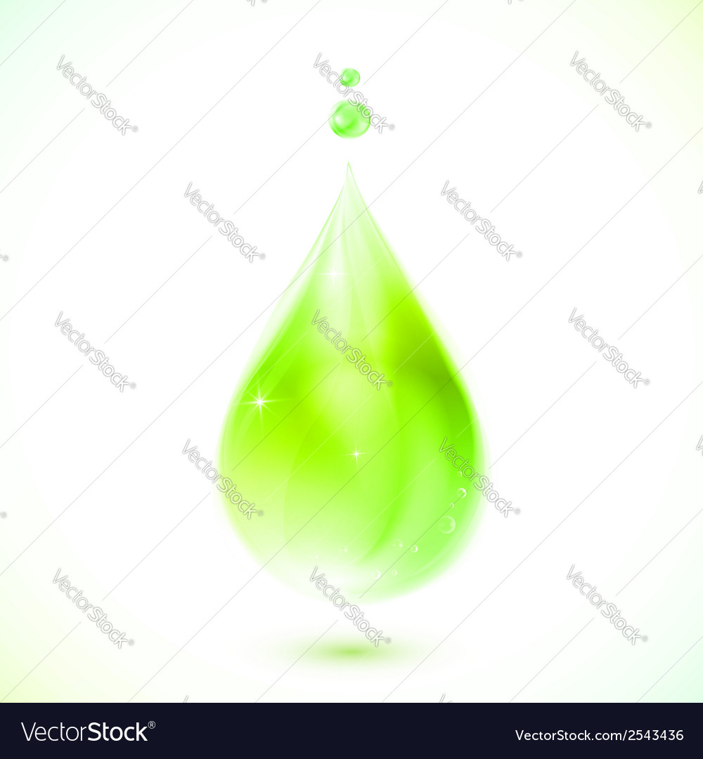 Green realistic oil drop vector | Price: 1 Credit (USD $1)