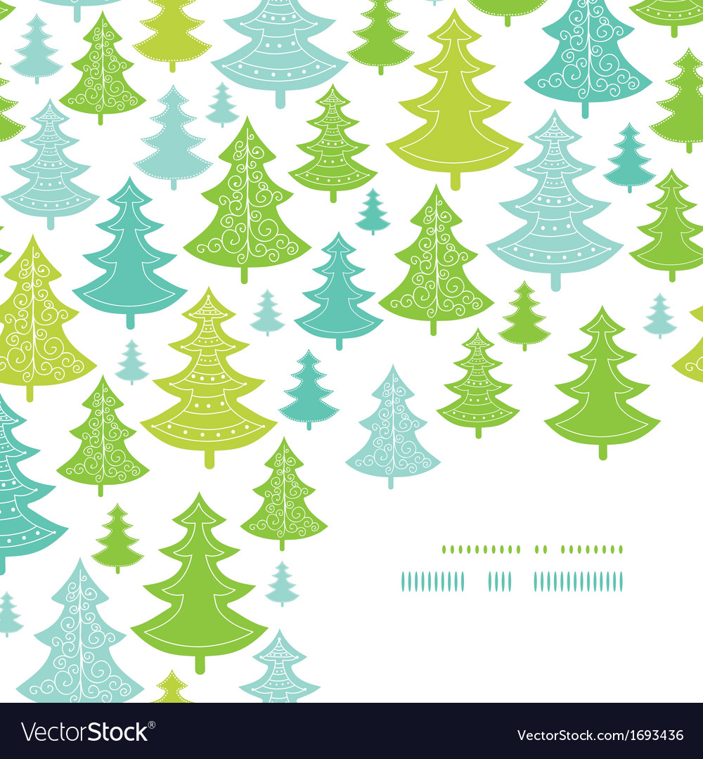 Holiday christmas trees corner decor pattern vector | Price: 1 Credit (USD $1)