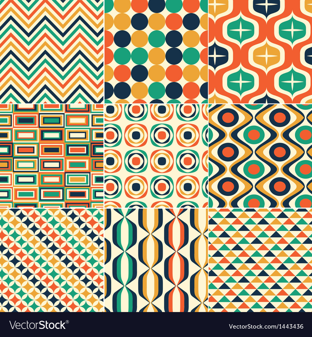 Seamless retro pattern print vector | Price: 1 Credit (USD $1)