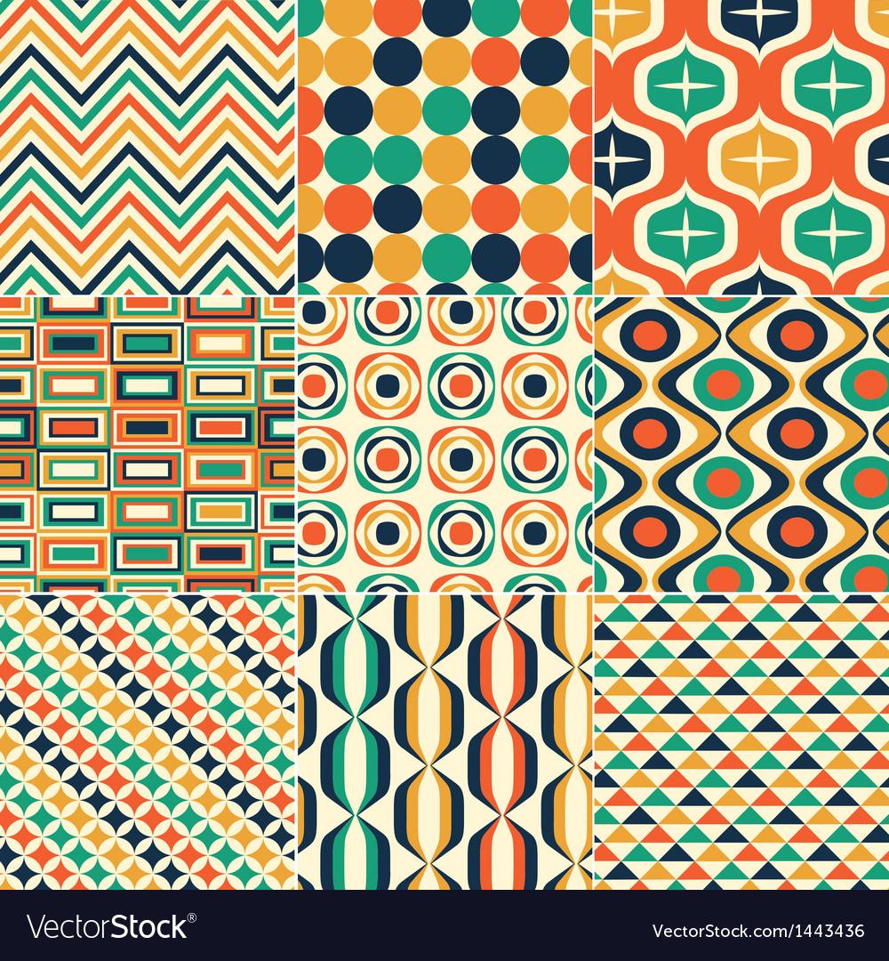 Seamless retro pattern print vector | Price: 1 Credit (USD $1)