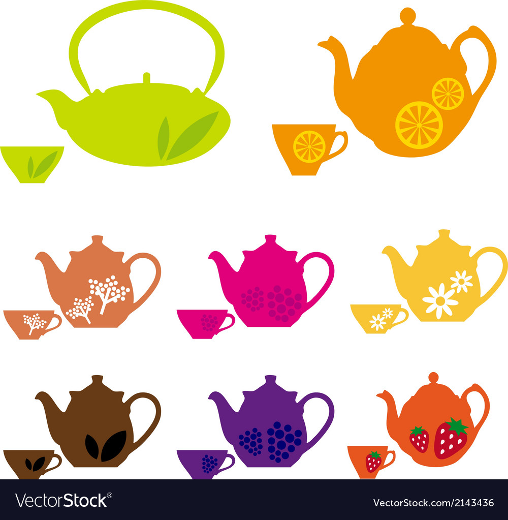 Tea pots and cups with fruits vector | Price: 1 Credit (USD $1)