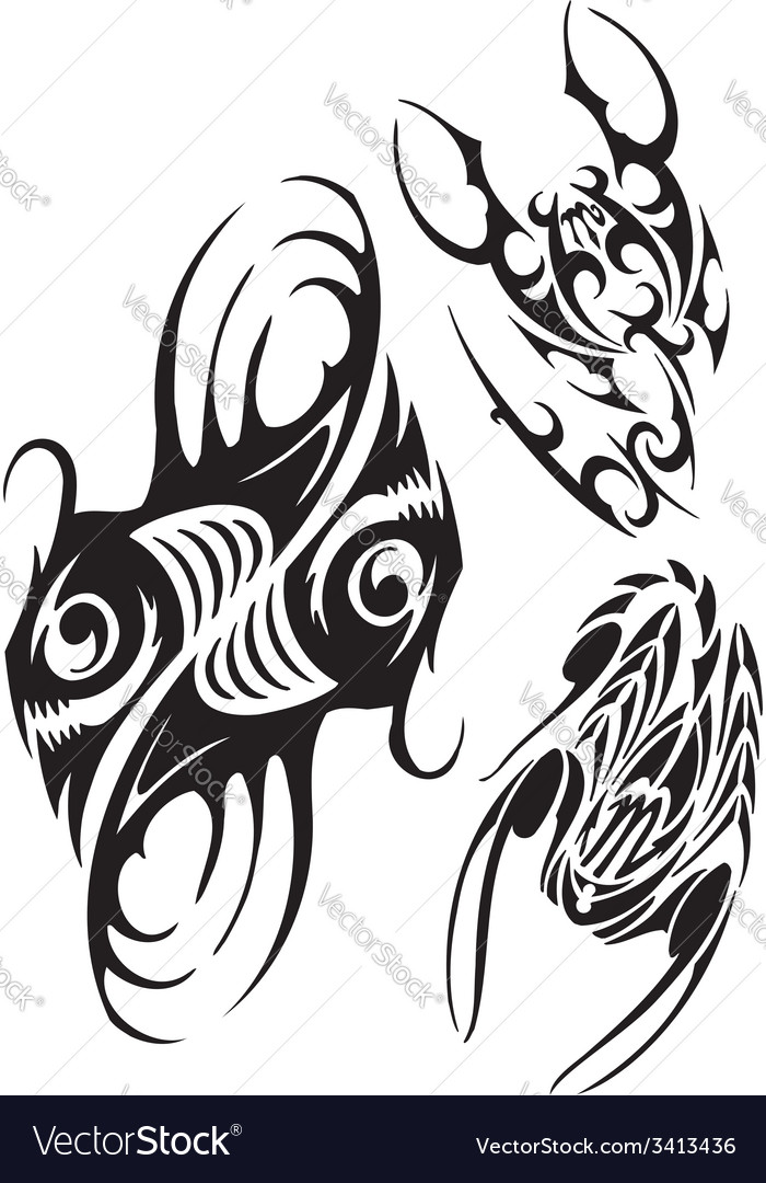 Zodiac signs - fish and scorpion set vector | Price: 1 Credit (USD $1)