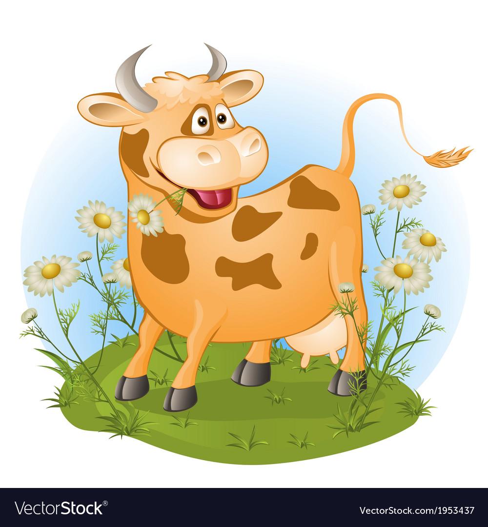 Amusing cow chews a grass vector | Price: 1 Credit (USD $1)