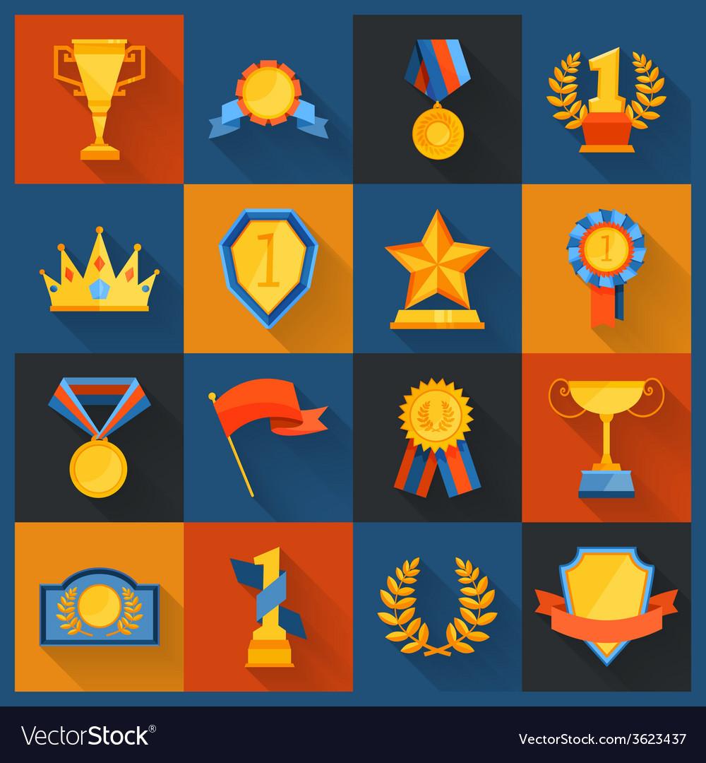 Award icons set flat vector   Price: 1 Credit (USD $1)