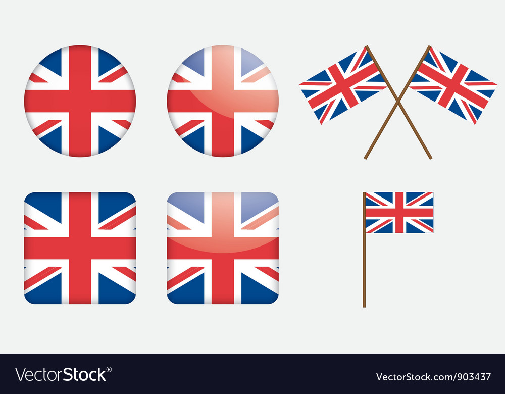 Badges with united kingdom flag vector | Price: 1 Credit (USD $1)