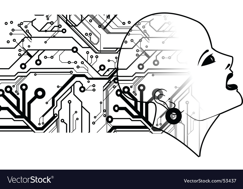 Bald head and printed circuits vector | Price: 1 Credit (USD $1)