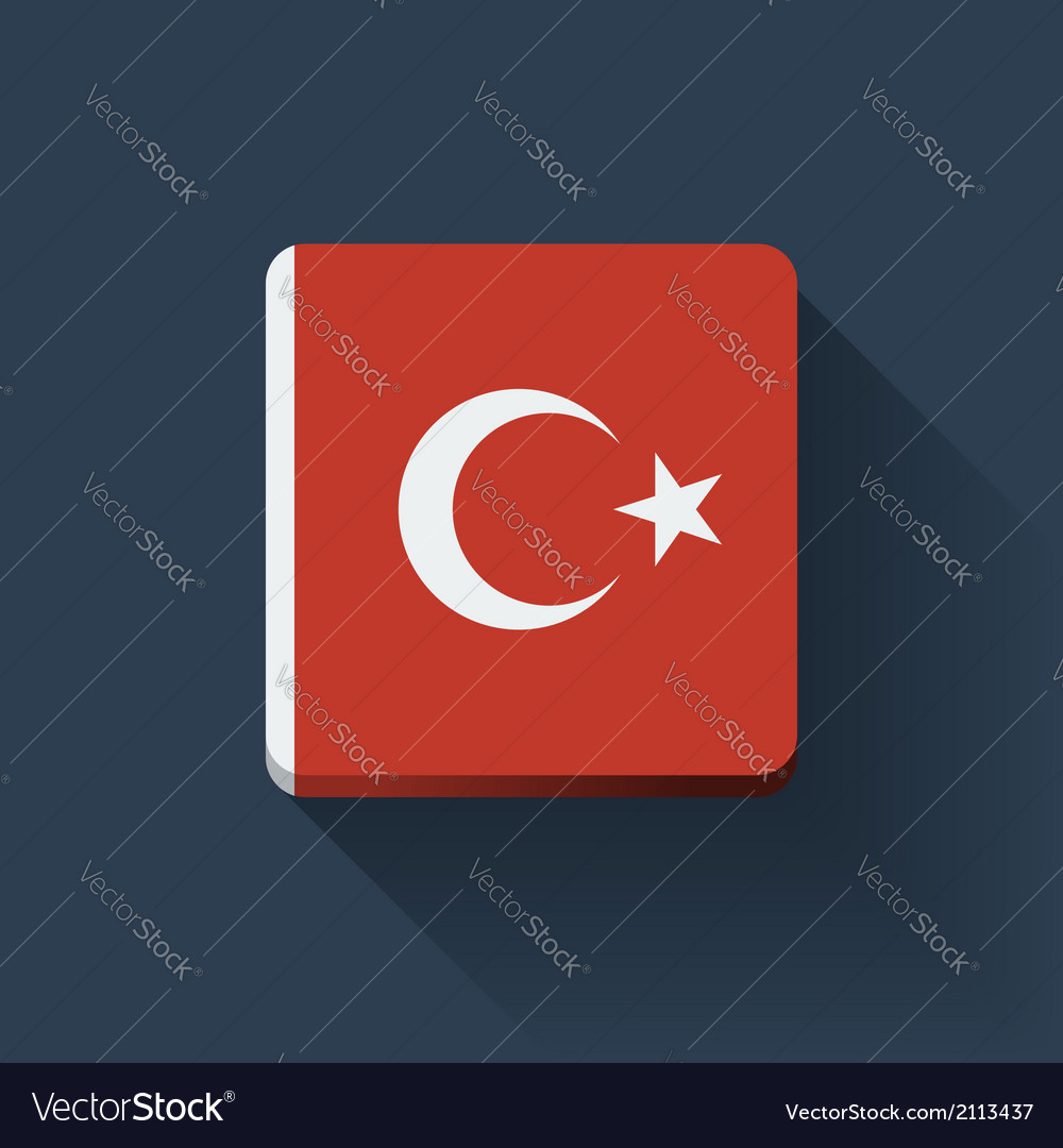 Button with flag of turkey vector | Price: 1 Credit (USD $1)