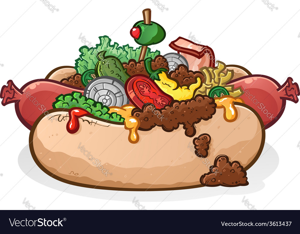 Chili cheese hot dog with toppings cartoon vector | Price: 5 Credit (USD $5)