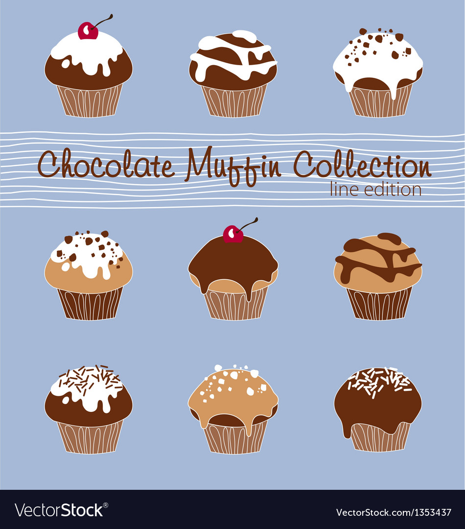 Chocolate muffin collection lined vector | Price: 1 Credit (USD $1)