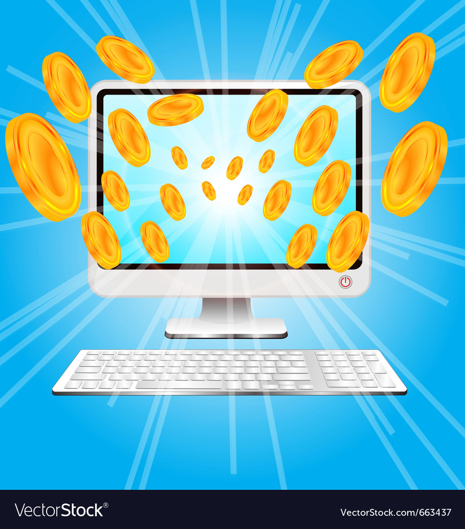 Computer and money vector | Price: 1 Credit (USD $1)