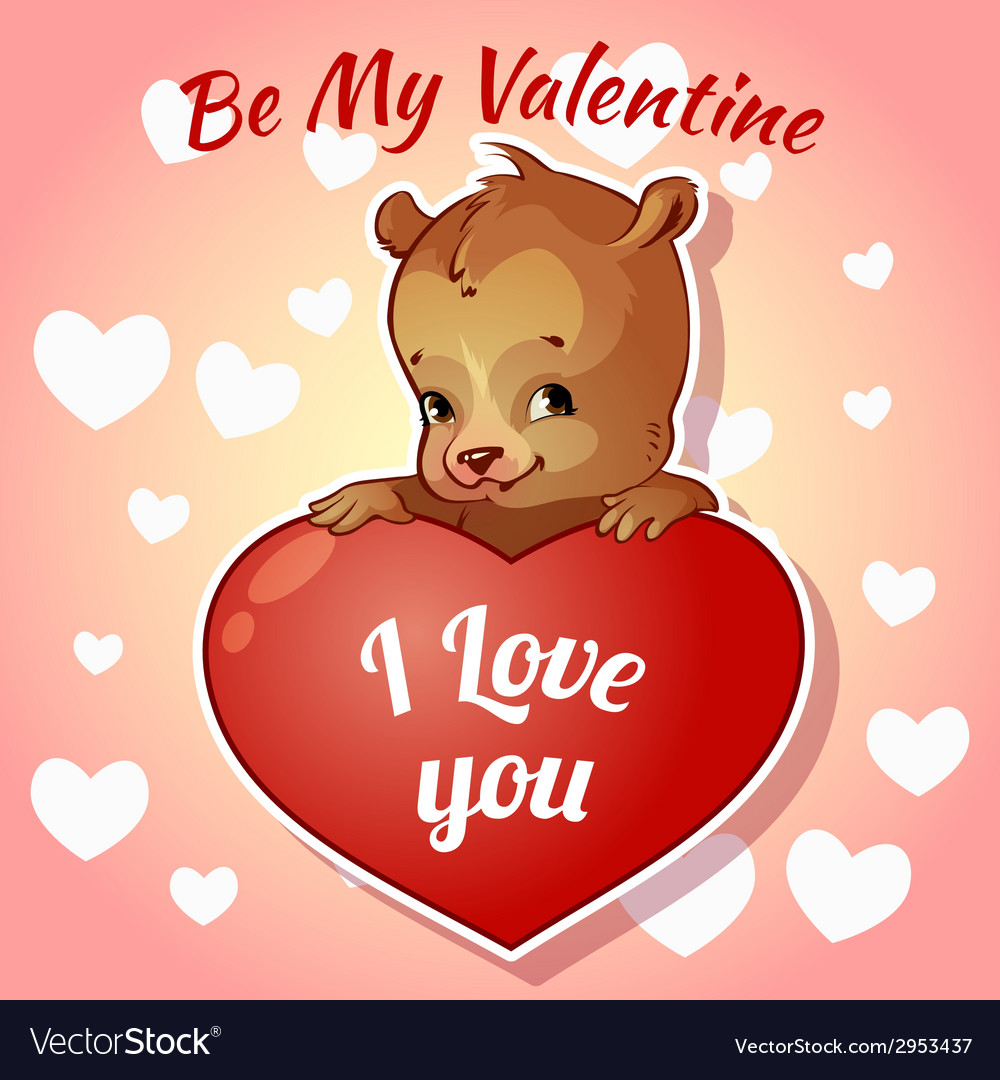 Cute teddy bear for valentines day vector | Price: 1 Credit (USD $1)