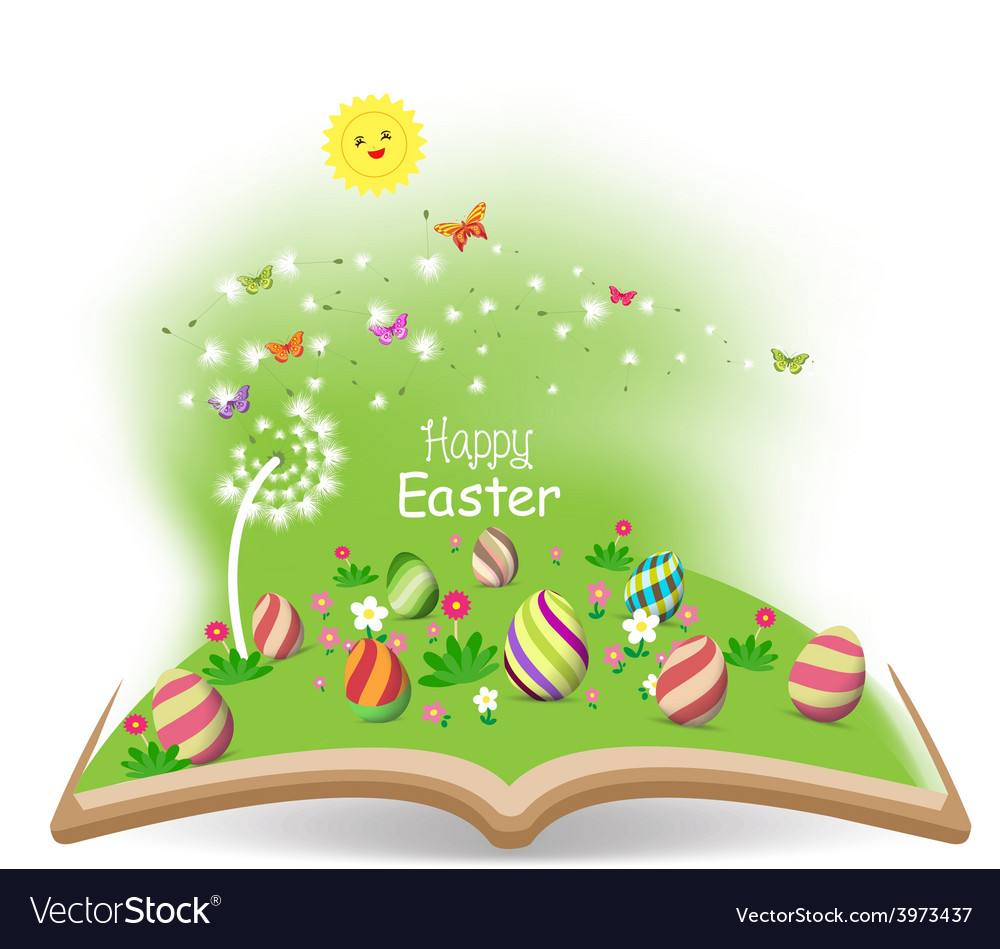 Easter egg spring with dandelion in the book vector | Price: 1 Credit (USD $1)