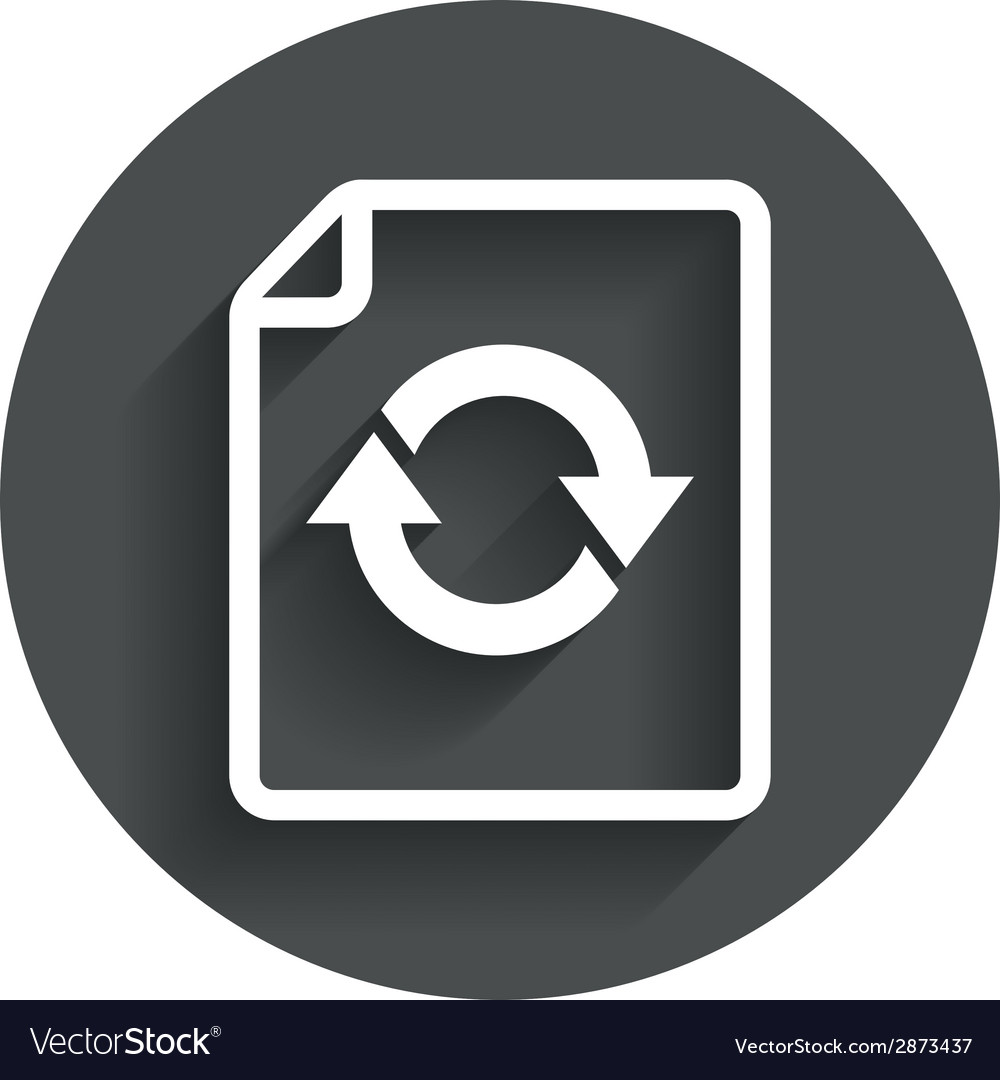 File document refresh icon reload doc symbol vector | Price: 1 Credit (USD $1)