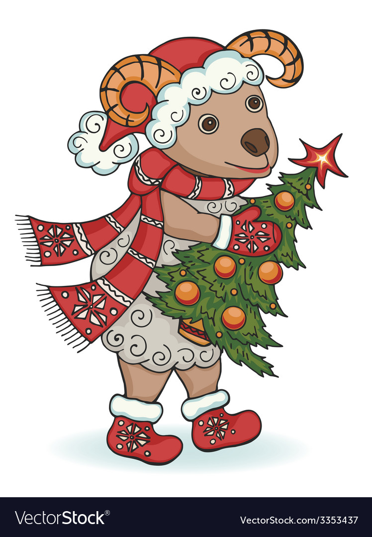 New year ram with christmas tree vector | Price: 1 Credit (USD $1)