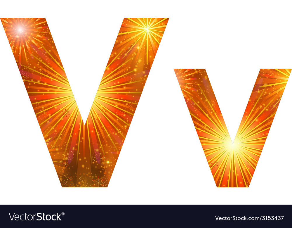 Set of letters firework v vector | Price: 1 Credit (USD $1)