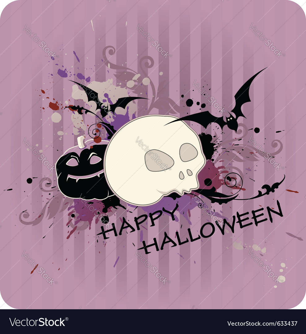 Striped halloween background with pumpkin and skul vector | Price: 1 Credit (USD $1)