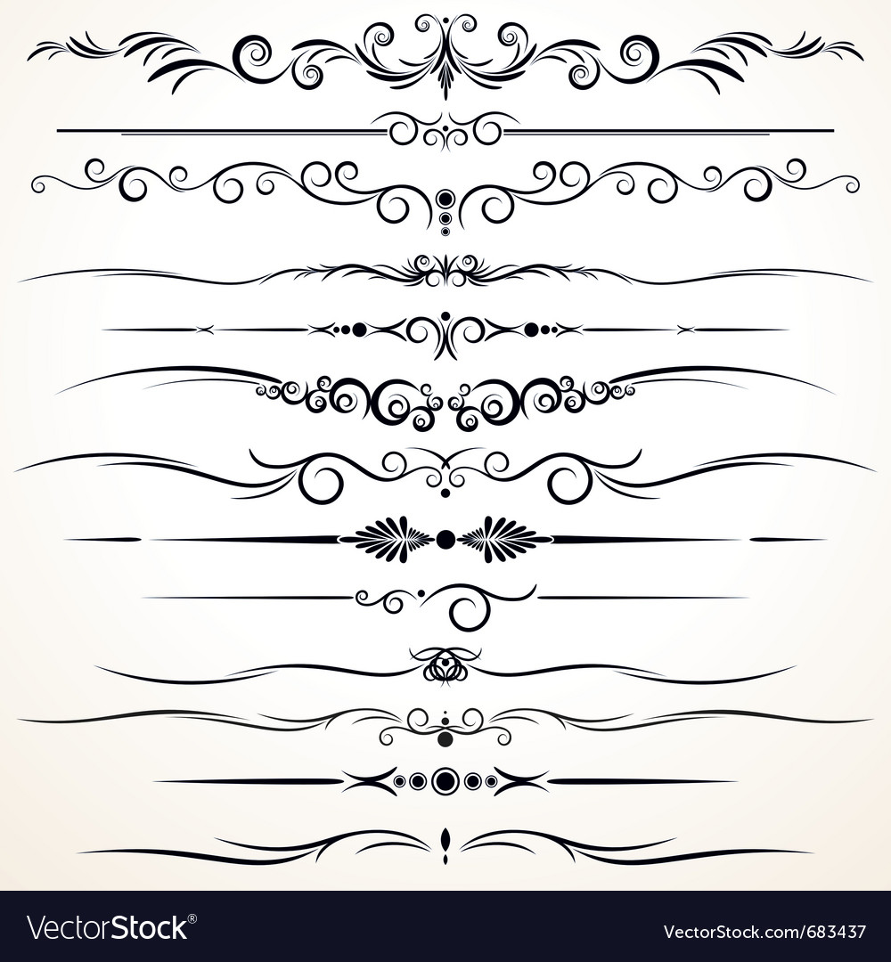 Vintage rule lines vector | Price: 1 Credit (USD $1)