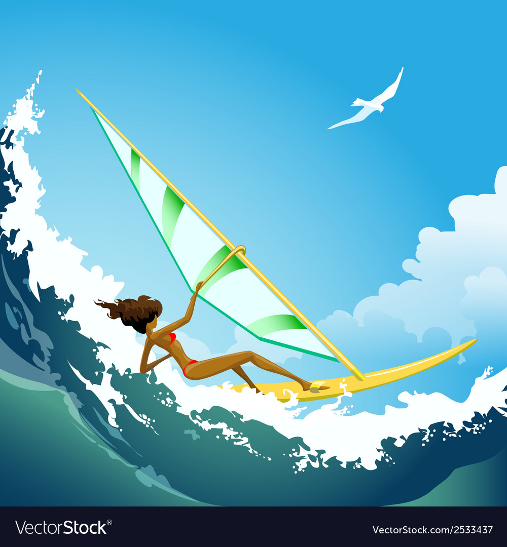 Wind surfer girl on the wave vector | Price: 3 Credit (USD $3)