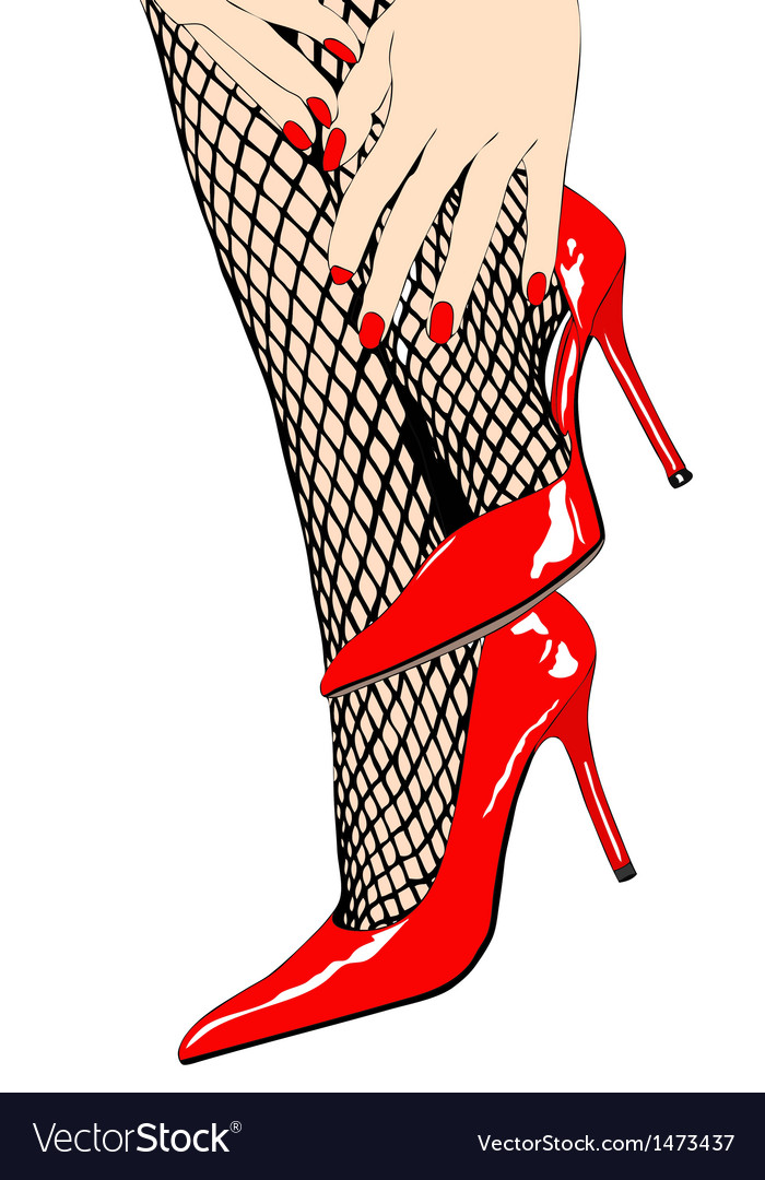 Woman with sensual fishnet stockings and red shoes vector | Price: 1 Credit (USD $1)