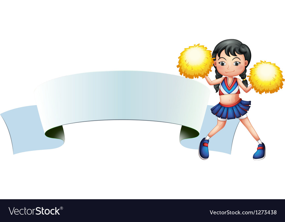 A cheerleader beside an empty signage vector | Price: 1 Credit (USD $1)