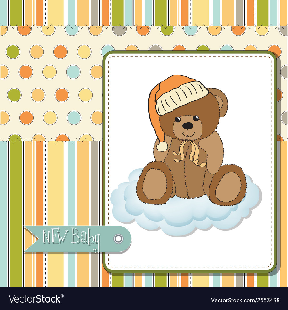 Baby shower card with sleepy teddy bear vector | Price: 1 Credit (USD $1)