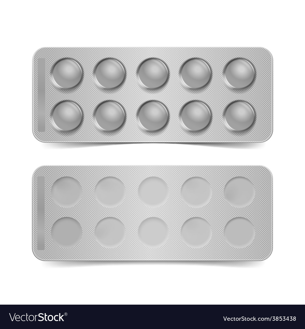 Blank pack for pills isolated on white vector | Price: 3 Credit (USD $3)