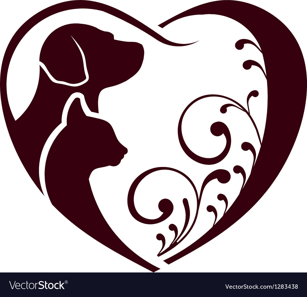Cat dog love heart logo vector | Price: 1 Credit (USD $1)