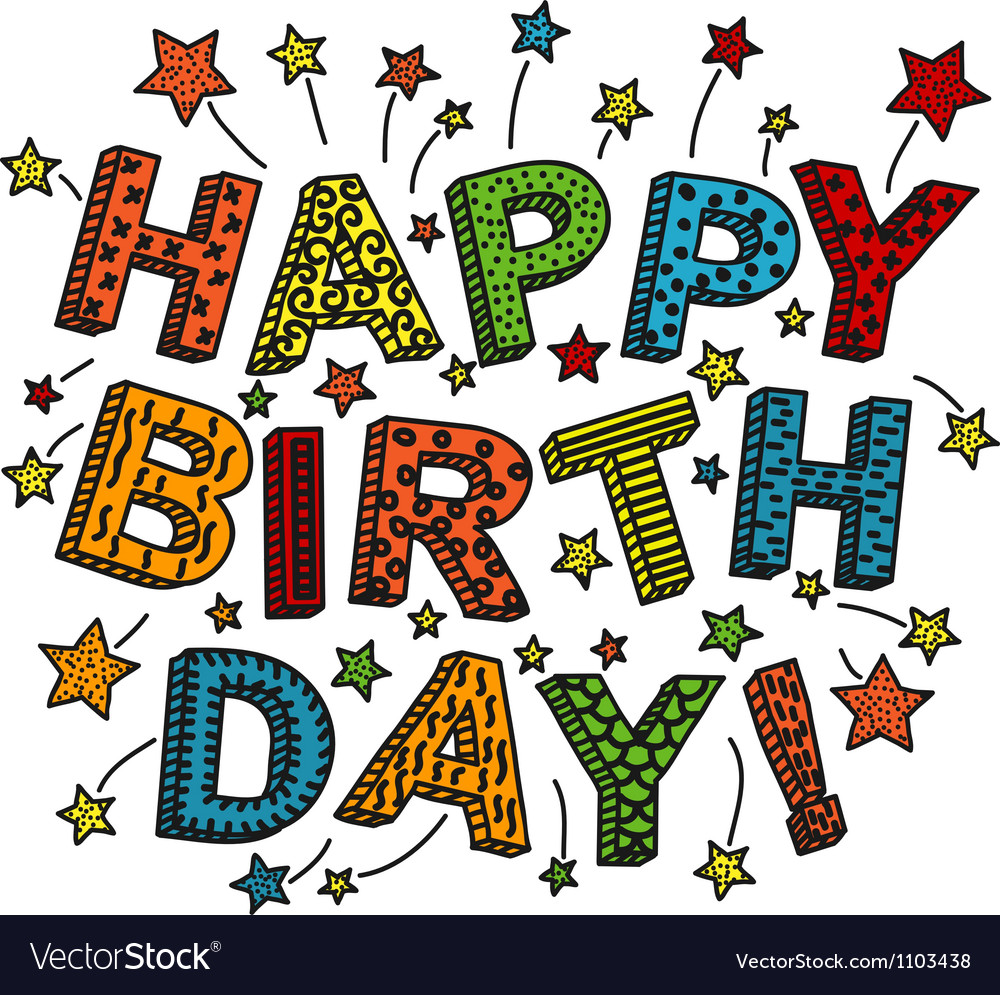 Colorful happy birthday card vector | Price: 1 Credit (USD $1)
