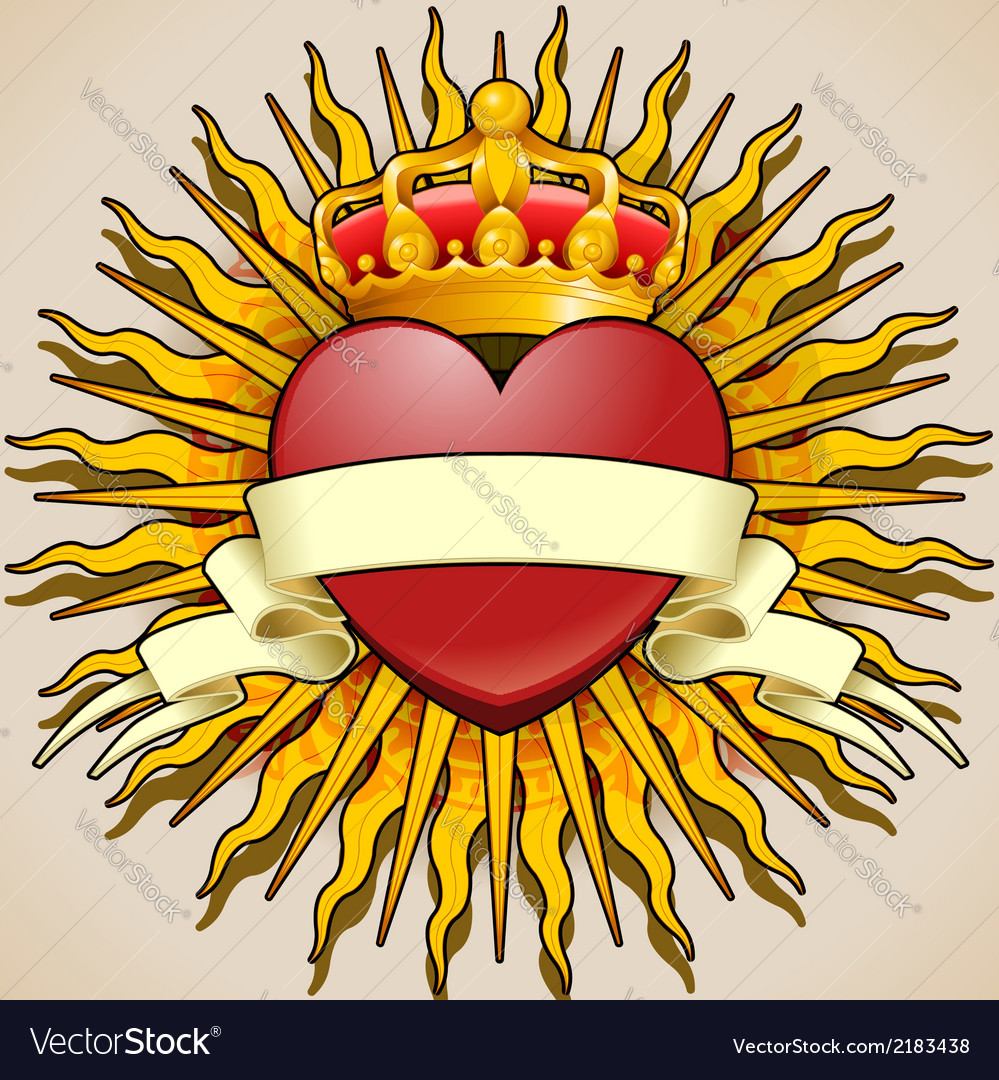 Crowned heart with banner and rays vector | Price: 1 Credit (USD $1)