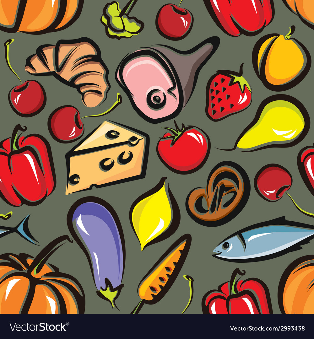 Food background with vegetables fruit meat fish vector | Price: 1 Credit (USD $1)