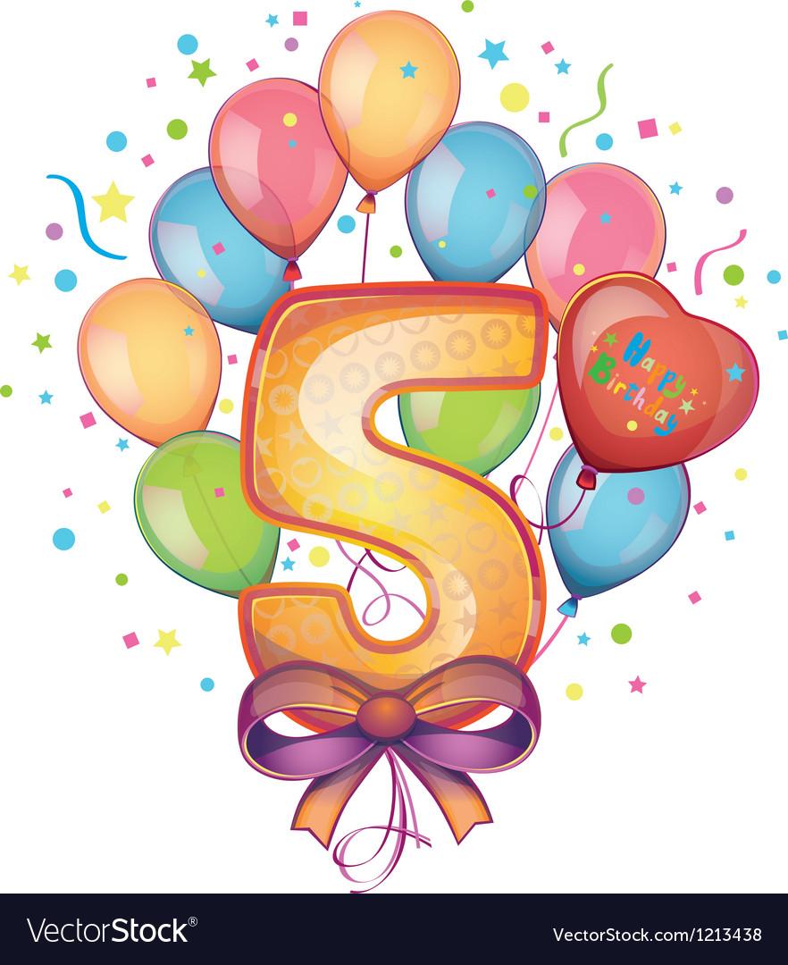 Happy birthday five vector   Price: 1 Credit (USD $1)