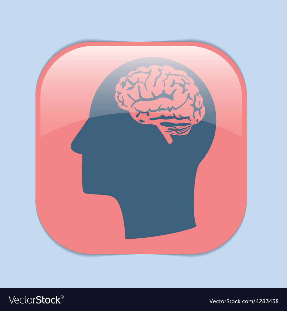 Icon head with brain mind and science vector   Price: 1 Credit (USD $1)